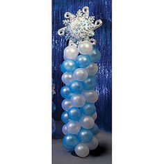 Use the Elegant Balloon Column to accent the entrance of your Winter Party. Each of the 10' high x 24 winter balloon columns have blue and white balloons.