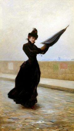 A Windy Day Artwork By Edouard Bisson Oil Painting & Art Prints On Canvas For Sale Belle Epoque, Arte Fashion, John Everett Millais, Umbrella Art, Black Umbrella, Windy Day, Rainy Days, Pre Raphaelite, Victorian Art