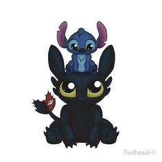Stitch is my favorite but I can say that toothless isn't right up their next to him on my list of second favorites.this just makes me love the two even more also don't forget baymax and tooth's little fairy Disney Pixar, Disney Amor, Cute Disney, Disney And Dreamworks, Disney Magic, Disney Characters, Baymax, Lilo Y Stitch, Disney Stitch