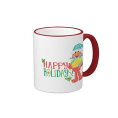 Happy Holidays Elmo. Regalos, Gifts. Producto disponible en tienda Zazzle. Tazón, desayuno, té, café. Product available in Zazzle store. Bowl, breakfast, tea, coffee. #taza #mug