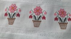 Baby Knitting Patterns, Crochet Patterns, Cross Stitch Designs, Floral, Cross Stitch Rose, Basic Embroidery Stitches, How To Make Curtains, Face Towel, Cross Stitch Samplers