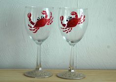 Red Crab Hand Painted Wine Glasses Set of 2 by KaiHinaCoastal