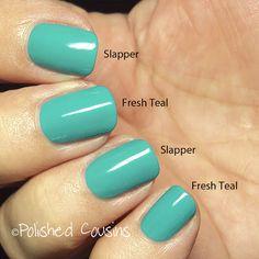 Polished Cousins: butter LONDON Slapper and Dupe Alert! (Milani Fresh Teal) nail polish comparison