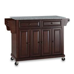 Crosley Rolling Kitchen Cart / Island with Solid Granite Top - BedBathandBeyond.com