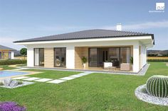 Pohľad zo záhrady na bungalov / Garden view of bungalow My House Plans, House Layout Plans, Modern House Plans, House Layouts, House Outside Design, Small House Design, Cool House Designs, Village House Design, Village Houses