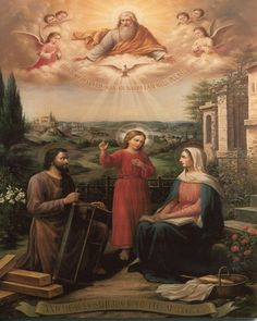 If we look back at the role of St. Joseph in the Holy Family, we see that he is called by God to be the head of the family. Matthew recounts how an angel sent from God explains to St. Joseph in a dream that he is to be the earthly father of Jesus: Blessed Mother Mary, Blessed Virgin Mary, Catholic Art, Religious Art, Roman Catholic, Religious Photos, Catholic Pictures, Religion, Jesus Christus