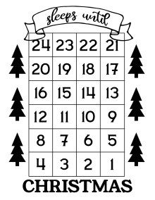 How Many Days Until Christmas Free Printable Paper Trail Design Christmas Countdown Calendar Countdown Calendar Printable Free Christmas Printables