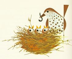 Wren feeding her young by Charley Harper.