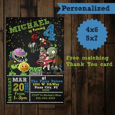 Plants vs Zombies invitation - Plants vs Zombies Birthday Invitation - Printable - Plants vs Zombie birthday by PurplePalaceDesigns on Etsy