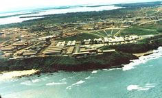 Chu Lai Air View Division Headquarters in Vietnam for the Americal Division was based in the main part of Chu Lai.  Many of the buildings seen in this photo are part of the 91st Evacuation Hospital, which sat upon a cliff overlooking the South China Sea.