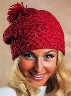 Cap with crossed checkerboard pattern - Knitting and Crochet Easy Knitting Patterns, Knitting Charts, Knitting Socks, Knitted Hats, Free Knitting, Beginner Knit Scarf, Crochet For Beginners, Crochet Winter Hats, Crochet Hats