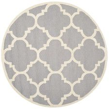 comes in a 10' round Cambridge Silver/Ivory Area Rug