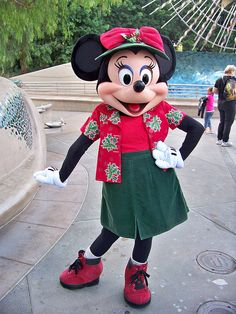 Minnie Mouse in her California Christmas clothes