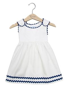 Ric Rac Pique Dress von Princess Linens in Gilt – Baby Kleidung Frocks For Girls, Little Girl Outfits, Little Dresses, Little Girl Dresses, Kids Outfits, Baby Dresses, Girls Dresses, Baby Frocks Designs, Kids Frocks Design