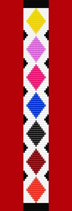 Argyle Diamond Bracelet Thin Bead Bracelet Pattern by TheBeadedCat Bead Loom Bracelets, Beaded Bracelet Patterns, Woven Bracelets, Jewelry Patterns, Diamond Bracelets, Seed Bead Patterns, Beading Patterns, Bead Loom Designs, Mochila Crochet