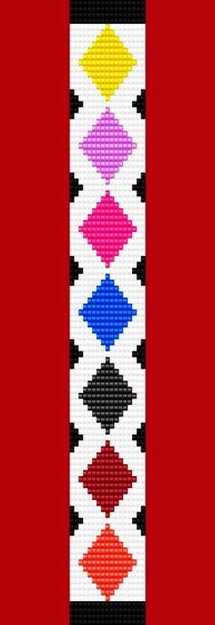 Diamond: Argyle Diamond Bracelet Thin Bead Bracelet Pattern Loom Stitch - Bracelets Loom Bracelet Patterns, Seed Bead Patterns, Bead Loom Bracelets, Woven Bracelets, Jewelry Patterns, Beading Patterns, Beading Ideas, Diamond Bracelets, Beading Supplies