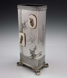 Tiffany Antique Sterling Vase With Applied Japanese Plaques