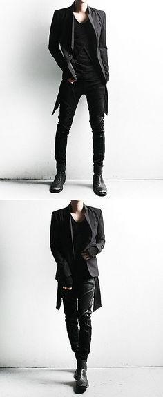 Bottoms :: Dark Cloud Washing Skinny Black Biker Jean - 64 - New and Stylish - Fast Mens Fashion - Mens Clothing - Product: