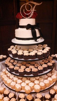 Enough cake to cut and save as an anniversary tier; with cupcakes your guests  http://www.catering.iastate.edu/
