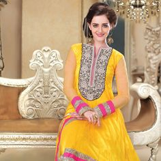 Yellow Net Anarkali Churidar Kameez