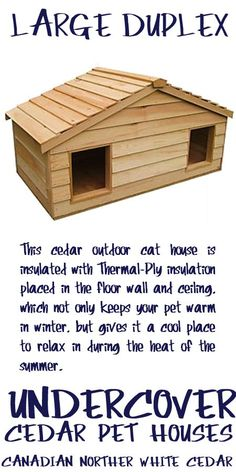 Large Duplex cedar insulated outside cat house Buy a Small Animal Heating Pad and transform this cat. Outside Cat Shelter, Outside Cat House, Outdoor Cat Shelter, Cats Outside, Outdoor Cats, Heated Outdoor Cat House, Dog House Plans, Wood Cat, Pet Dogs