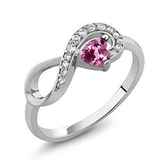 """Sterling Silver Heart Shape Pink Tourmaline Jewelry Women's Infinity Ring (0.32 cttw, Available in size 5, 6, 7, 8, 9). This design is simple, classic, elegant, fit for any occasion as daily wearing home and office. Carefully packed in beautiful jewelry box. Perfect for gifts for birthday, anniversary, holidays, stocking stuffers, graduation, Christmas, Valentine's Day, Mother's Day, Thank You or simply """"Thinking of You"""". CARAT TOTAL WEIGHT - 0.32 CT (This item is proudly custom made in the…"""