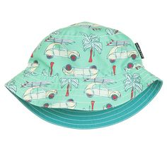 Love this! at Polarn O. Pyret UK & Ireland REVERSIBLE KIDS SUN HAT #polarnopyretuk #qualitychildrensclothes #colourfulkidsclothes Essential summer sun protection for kids. Reversible kids sunhat in quick dry swim fabric.  One side blue the other colourful summer print.
