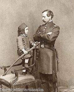 8 x 10 Civil War Photo Print Union Officer and Child in a Little Zouave Uniform