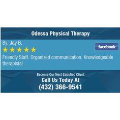 Friendly Staff. Organized communication. Knowledgeable therapists!
