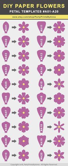 PAPER FLOWER PETALS - TEMPLATES #A01-A40 #PaperFlowers, #PaperFlowerTemplates, #SvgFlowerTemplates #SvgFlowerPetals #DIYPaperFlowers #DIYFlowerBackdrop - Salvabrani