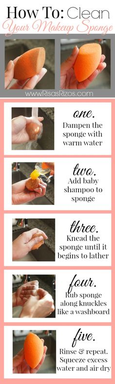 Step by step pictorial on how to clean your beauty blender or makeup sponge.