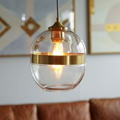 Banded Glass Pendant #westelm