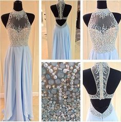 Backless Prom Dresses,Light Blue Prom Dress,Prom Dresses Long, Open Backs Prom Gown,Open Back Prom Dresses,Chiffion Evening Gowns,2017 Open Backs Evening Gown