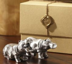 Hippos Salt & Pepper Shakers | Pottery Barn @Amie Adams Hollar look at these!