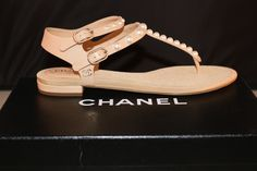 Get the must-have sandals of this season! These Chanel Beige 2016 Cc Logo Leather Pearl Pearls Flats Thong Flat 37 Sandals Size US 7 Regular (M, B) are a top 10 member favorite on Tradesy. Beige Sandals, Chanel Sandals, Leather Sandals Flat, Chanel Shoes, Dress Sandals, Flat Sandals, Shoes Sandals, Flats, Flat Shoes
