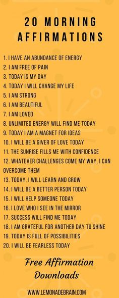 Affirmations that will change your life - Lemonade Brain - Affirmations! Affirmations are an amazing and powerful tool. List of Affirmations plus FREE Downloa - Vie Positive, Affirmations Positives, Positive Affirmations Quotes, Morning Affirmations, Affirmation Quotes, Positive Thoughts, Positive Vibes, Positive Quotes, Healthy Affirmations