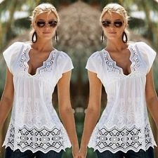 Women Summer Lace Vest Top Sleeveless Casual Tank Blouse Tops T-Shirt Lace Summer Dresses, Casual Dresses, Mode Outfits, Fashion Outfits, Bohemian Blouses, Over 50 Womens Fashion, Fashion Women, Summer Blouses, Blouse Styles
