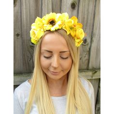 Yellow Rose Orchid Sunflower Flower Garland Headband Hair Crown Floral... ($14) ❤ liked on Polyvore featuring accessories, hair accessories, grey, headbands & turbans, floral crown, flower crown headband, artificial flower garlands, floral crown headbands and yellow flower crown