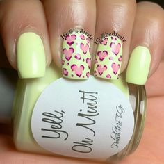 Leopard heart ♡ this is Yell Oh Mint by Rodriguez Melendez Waterfall Bartosiewicz Gorgeous Nails, Love Nails, How To Do Nails, Pretty Nails, Diy Nails, Manicure, Nailart, Nail Polish Art, Instagram Nails