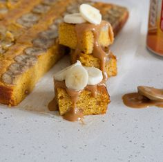 Mashed bananas and pumpkin purée give this caramel-drizzled sheet cake a lush, moist texture, via @topwithcinnamon