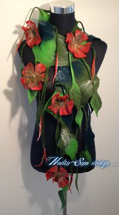 www.nadinsmo.com **POPPIES ** -Handmade wool felted scarf ...Flowers ...only flowers ...