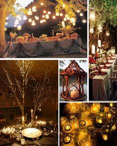 las velas en los mason jars colgando de los arboles - Enchanted forest wedding decor