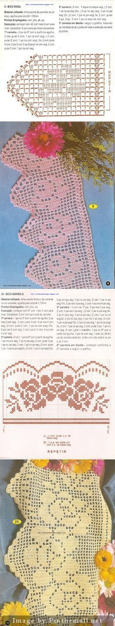 Filet crochet lace edging ~~ Single rose (only 10 meshes wide); 3 roses bouquet ~~ http://alinhavandootempo.blogspot.de/search/label/Barrinhas