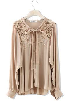 Floral Crochet Nude Chiffon Shirt