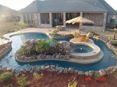 32 Fascinating Lazy River Pool Ideas That Should You Make In Home Backyard, Basically, you've got to specify the type of pool you need and its usage. The pool will surely increase the ambiance of the backyard. You probably req. Pool Spa, Swimming Pools Backyard, Swimming Pool Designs, Backyard Landscaping, Lap Pools, Indoor Pools, Pool Decks, Kayak Pools, Kiddie Pool