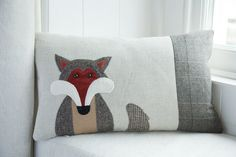 Handmade Fox Cushion with tweed and welsh wools, as seen in Country Living magazine!