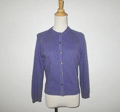 Vintage 1950s Sweater / 50s Purple Dreamspun Cardigan Sweater