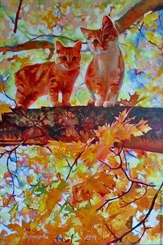 Buy Gold cats - cats, fallout, leaves, canvas, canvas on stretcher, canvas, oil