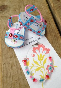 """Cute Sandal Shoes for American Girl Doll or similar 18"""" dolls with matching Necklace"""