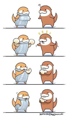 Otter Cartoon, Cartoon Art, Nyan Nyan, Otter Love, Quokka, Chibi Characters, Sea Otter, Cute Animal Drawings, Art Memes